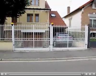 double portail coulissant blanc. Black Bedroom Furniture Sets. Home Design Ideas